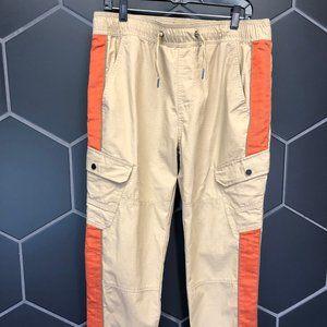 New! Bespoke Beige Orange Cargo Pants
